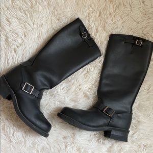 Frye tall black leather engineer boots